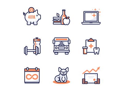 Company perks and benefits vacation illustration stock dog insurance bus gym laptop lunch bank 401k icons