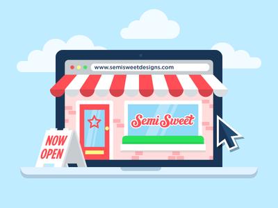Shop Open online ecommerce illustration business laptop website open shop store