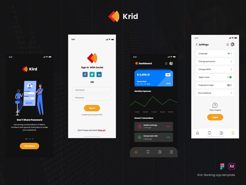 Kird - Banking app template ui design flat modern login screen user interface payment app banking app wallet mobile apps app mobile ui