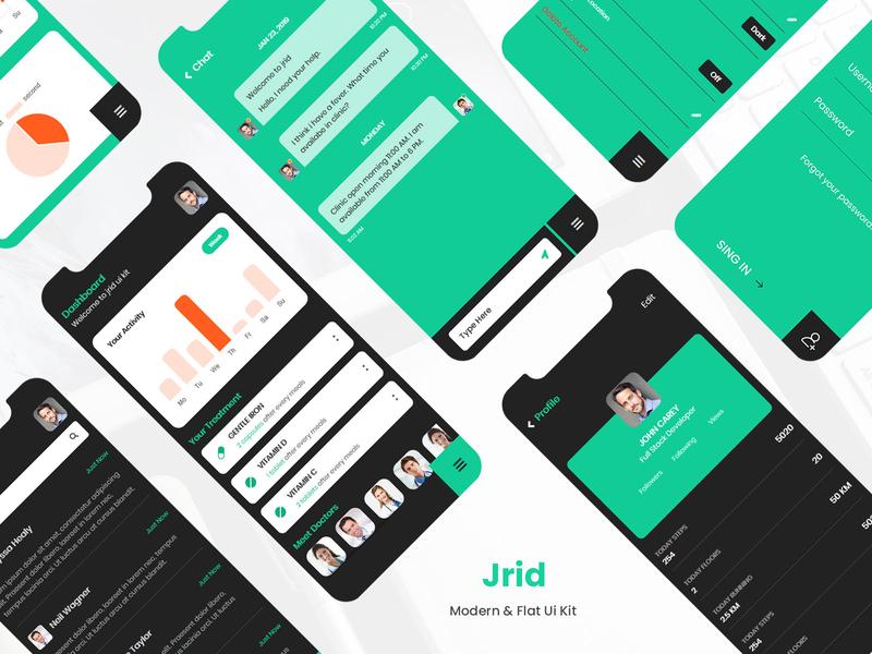 Jrid - Modern & Flat ui kit inner page design user interface health app healthcare flat modern ionic5 ionic framework ionic mobile ui app design mobile apps ui