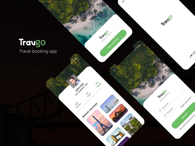 Travgo - Travel booking app screens flat modern design ui design user interface login screen profile trip hotel booking hotels travel app mobile ui mobile apps