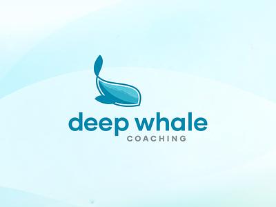 Deep Whale Coaching simple icon simple design aquatic aqua coach blue icon ocean lifestyle brand coaching design bright logo branding