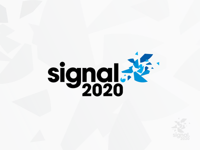 Signal 2020: Stepping Forward virtual conference identity design puzzle pieces broken shatter blue technology tech logo conference logo branding conference