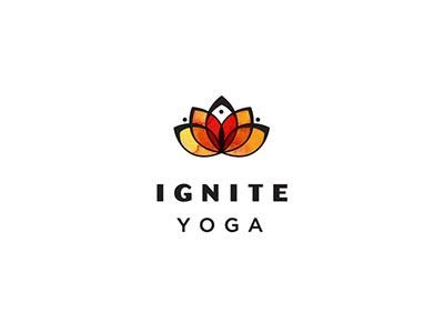 Ignite Yoga Logo yoga lotus heart love fire ignite watercolor health