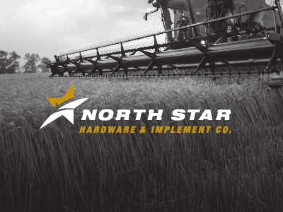 North Star Hardware & Implement Co. Branding farming farm grain tractor gleaner star gold agriculture wheat combine implement hardware