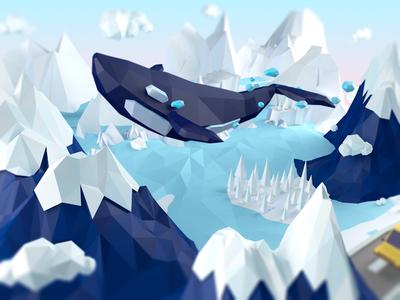 whale lowpoly sea sky blue whale