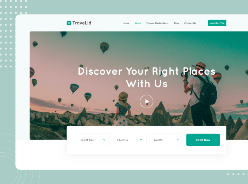 TraveLid - Travel Home Page Header Exploration hero image booking ux ui web design trip tour journey webdesign typography travel agency creative clean travel 2020 trend design agency agency websites trendy design landing page travelling