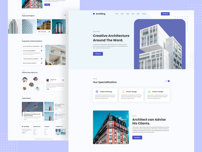 Architecture Landing Page marketing real estate architect architectural architecture interior propeties homepage engineers consultancy agency minimal clean new trend ui illustration landing page design landing page agency websites agency business creative 2020 trend design