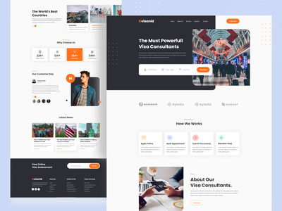 Immigration Consulting Landing Page uidesign ui booking minimal clean new trend travel passport visa consulting immigration clean dribbble best shot homepage trendy design illustration agency agency business landing page creative agency websites