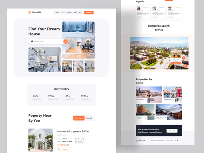 Real Estate Landing Page homepage branding dribbble best shot agency trendy design agency business 2020 trend design minimal clean new trend illustration landing page agency websites