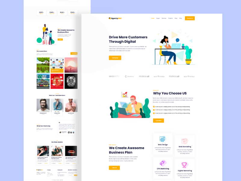 Agencymid - Creative Business Agency Website Template agency websites agency business agency