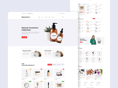 Cosmetic E-commerce Shop landing pages. 2020 trend design shopify ecommerce design website design cosmetics uxdesign uidesign template ui tech store shop store multi store landing page landingpage mackup 2020 cosmetis shop cosmetic creative ecommerce architecture agency