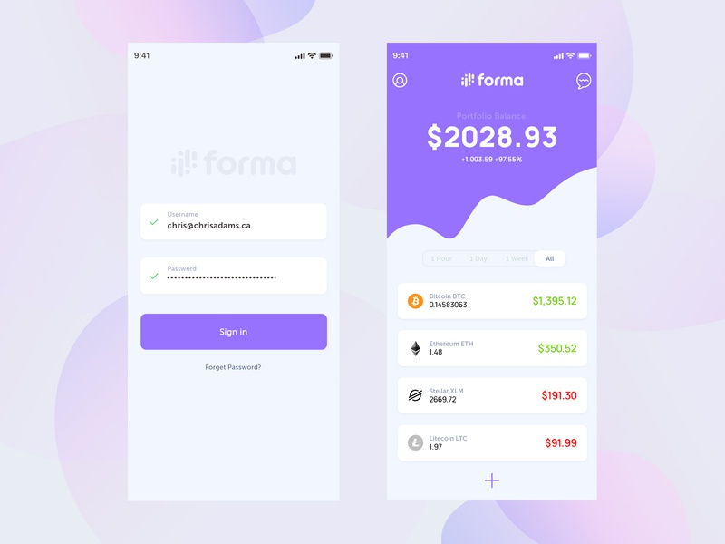Forma App crypto cryptocurrency wallet bitcoin icons gradient uiux uxui ux forms app design mobile app uidesign ui