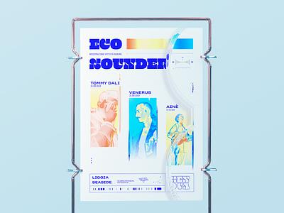 Eco Sounder blender poster design genova music venerus art direction poster