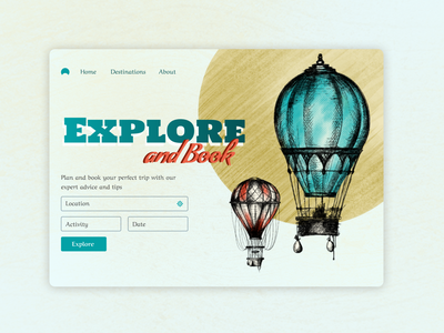 Explore and Book website ui website booking design desktop concept ballon poster design post vintage explore