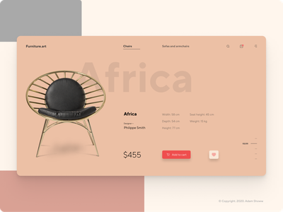 Designer furniture website webdesign typography web flat minimal ux figma design ui