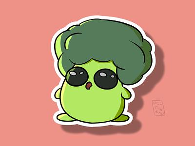 Broccoli 🥦 funtimeartist cuteart stickers sticker vegan krita logo design creaturedesign funny october artwork chubby cute creature illustration healty broccoli