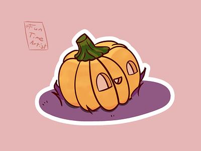 🎃 nature trickortreat orange purple krita sticker logo design scary funny creaturedesign halloween artwork illustration pumpkin
