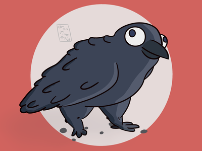 Rabe bigeyes krita baby funny chubby artwork creaturedesign illustration cute art october cute rabe raven