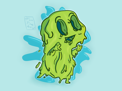 slime monster cute chubby october fall illustration redesign candy explore adventure funtimeartist blue green trick or treat trickortreat halloween monster slime