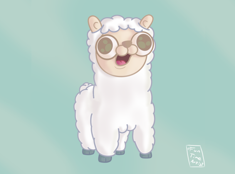 Happy alpaca! 😊 illustration krita big eyes chubby creature design december creaturedesign silly exploration baby smile animal art animal wool cute funny lama hug alpaca