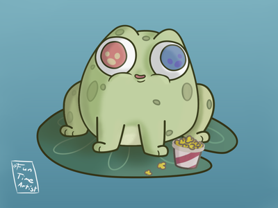 The 3D frog cinema bigeyes baby frog krita december chubby funtimeartist artwork illustration creaturedesign