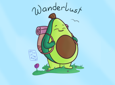 Wanderlust 🏔️ chubby december creaturedesign illustration creatures exploration silly flower baby green backpack cute funny superfood hug wanderlust avocado