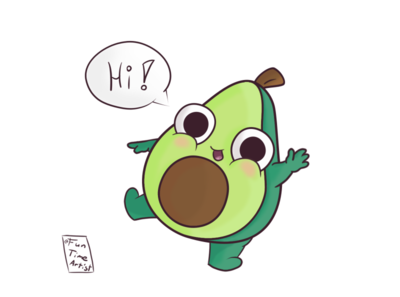 Hi! 🥑 happy hi hug illustrations illustration funtimeartist cute fun funny december cuteart creaturedesign chubby avocado artwork