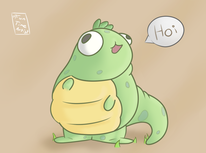 Dinosaur big eyes hug krita funny cute hi december chubby artwork illustration creaturedesign dinosaur