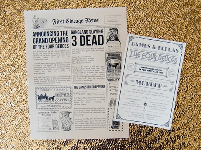 Speakeasy Murder Mystery Print Invitations by Stephanie Haworth