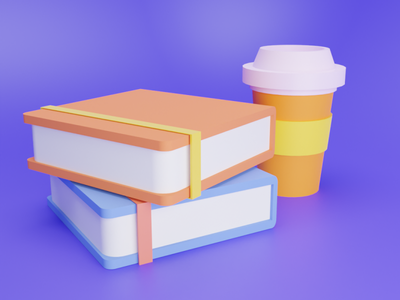 Coffee with study c4d icon blender illustration design 3d