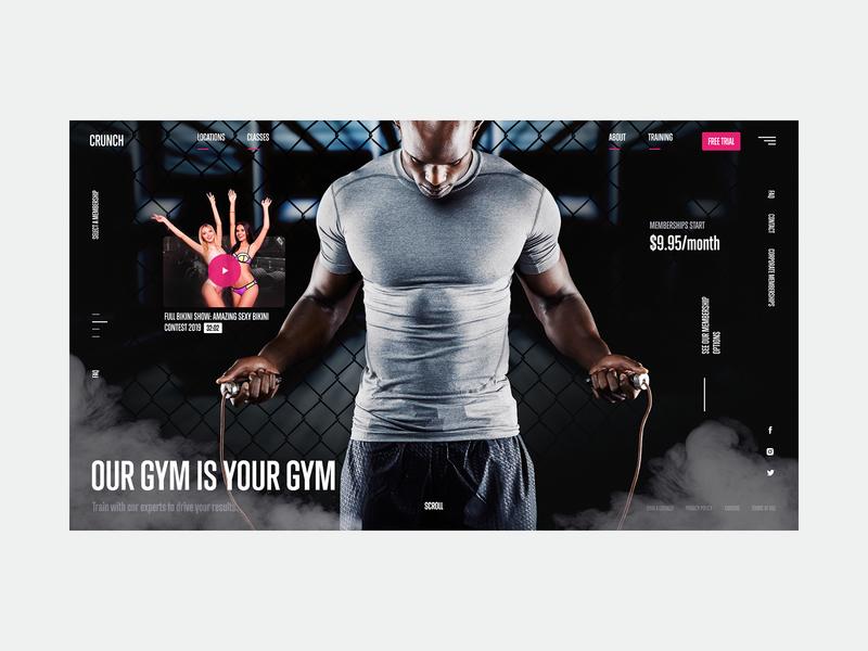 Gym black interaction ux web girls fitness training sport gym