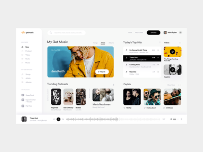 Online Music Streaming Service UI apple music app white clean spotify dashboard artist songs player music