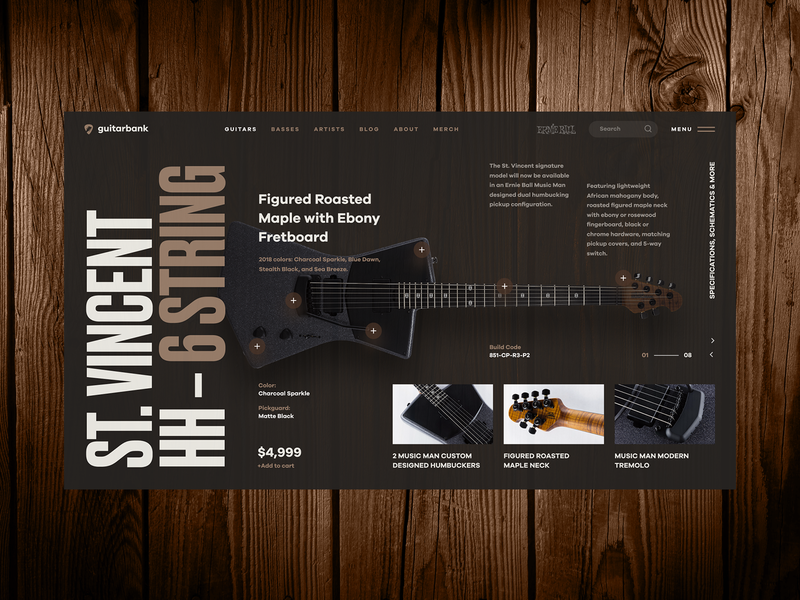 Guitar Shop bass web ui product card tuner shop sound ecommerce cart store design string fender vintage dark wood music guitar