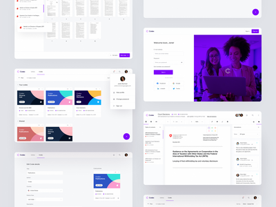 Codex 102 – Overview 👁 text editor codes law pages up in sign bright edit profile documents organise sign in dashboard product design ux ui modern minimal