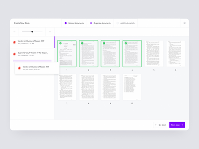 Codex 102 – App screens 🖥 pages organise bright light modern app design annotate mark select fab covers dashboard text editor law code ux ui minimal app
