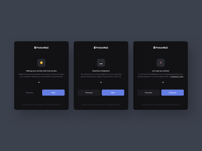 ProtonMail Bridge – Onboarding kowal przemek ui ux started get modern accounts sign in onboarding dark mode proton mail connection bridge minimal swiss protonmail