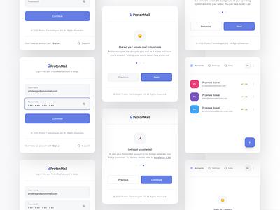ProtonMail Bridge – App icon typography modern minimal application state status theme ux ui dark protonmail proton hover account mail app