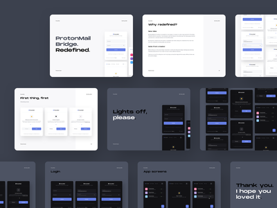 ProtonMail Bridge   Presentation account modern minimal presentation design presentation template definition ux ui light dark pitch deck screens app explanation thing more one work presentation