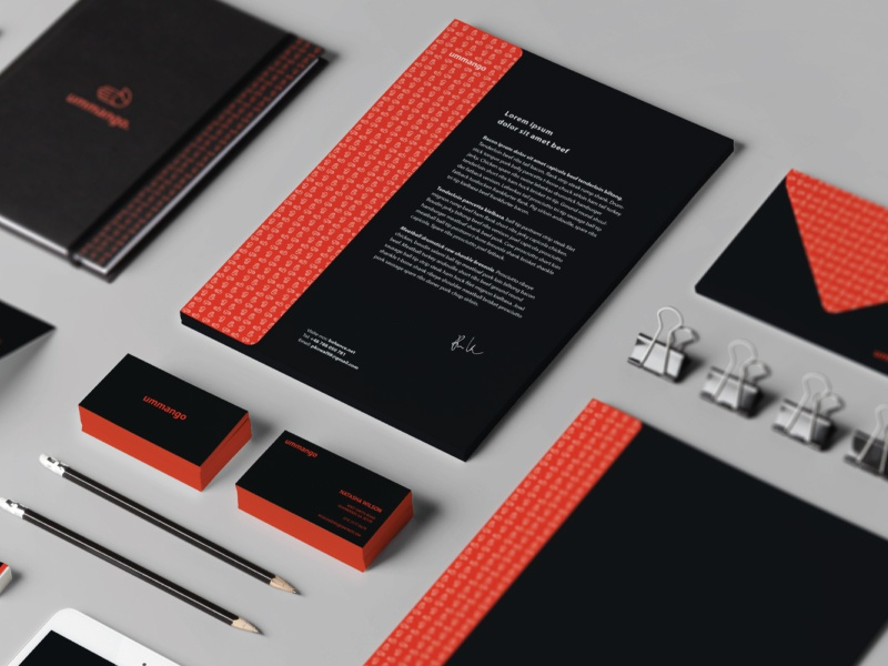 ummango. branding logo branding full pattern hand orange dark stationery przemek kowal