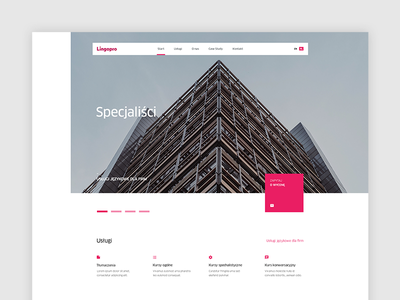 Lingopro – main page page ui ux square translations web website minimal clean layout language school modern