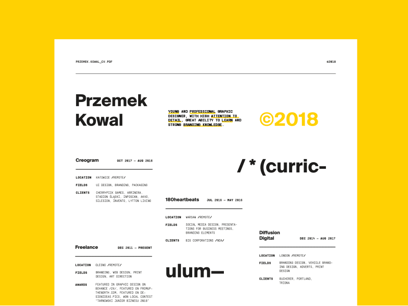 /* (curriculum vitae) */ — looking for full time job 🔎 łódź modernism modern yellow unregular layout swiss designer curriculum vitae cv