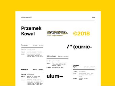 /* (curriculum vitae) */ — looking for full time job 🔎 łódź modernism modern yellow unregular layout swiss designer curriculum vitae cv