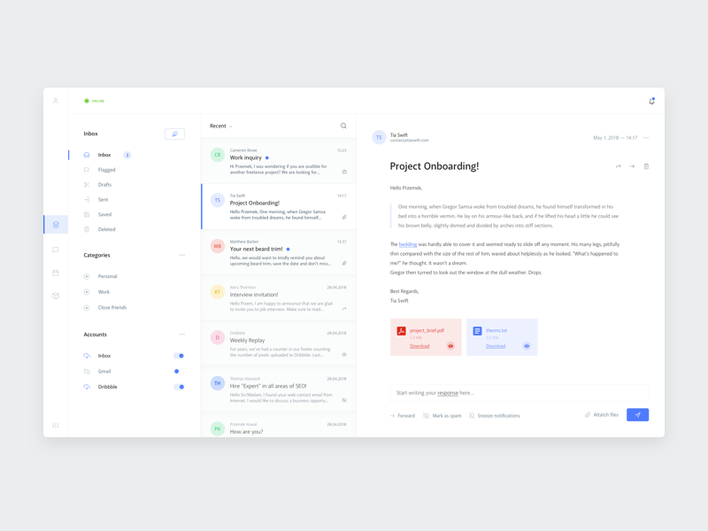 Inbox app 👨🏻💻 ui design ui blue toggle attachment email profile messages message mail inbox