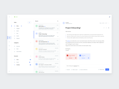 Inbox app 👨🏻‍💻 ui design ui blue toggle attachment email profile messages message mail inbox