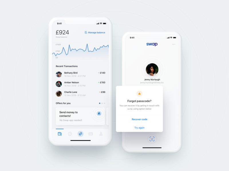 Swap – manage your money 💸 modernism iphone x modern design ios ux mobile app transactions graph login alert dashboard fintech minimal ui