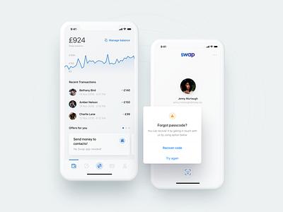 Swap – manage your money 💸 modernism iphone x modern design ios ux mobile app transactions graph login alert dashboard fintech minimal ui