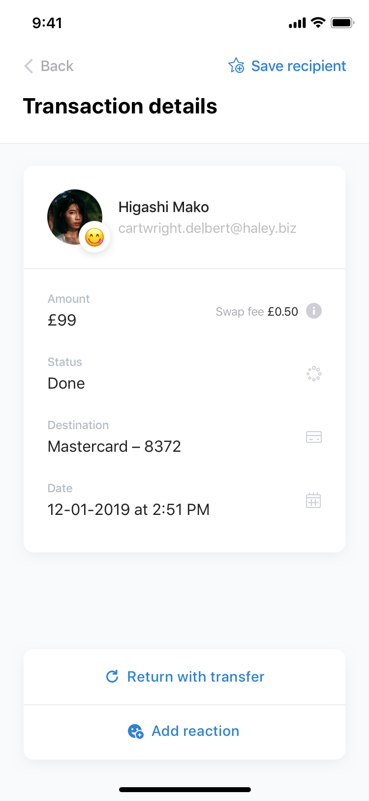 Swap   transactions  details   recieve  reaction added 2x2