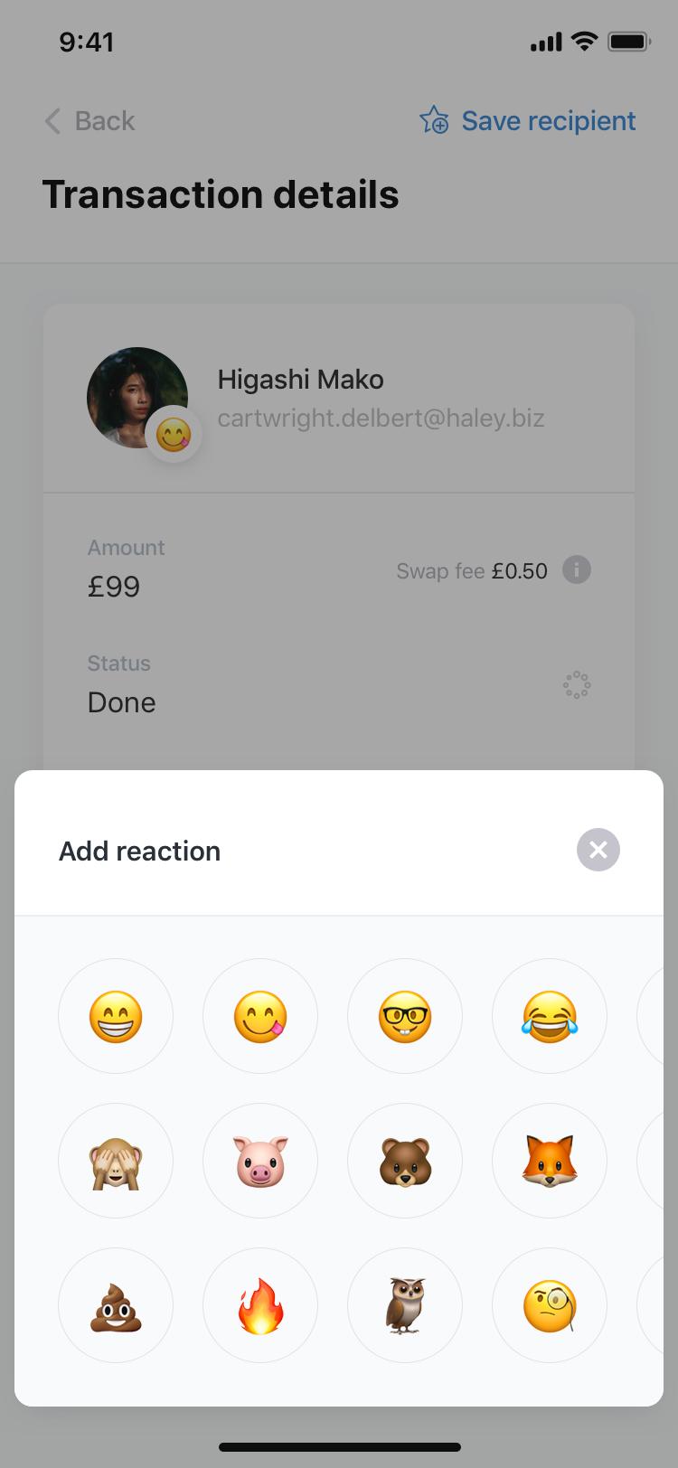 Swap   transactions  details   recieve  reaction add 2x
