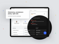 Nodus Medical – main dashboard 🏥 interaction dashboad dark theme dark ui mode dark ui ux ipad medical surgeon timeline ipad pro web design clean blue doctor health typography